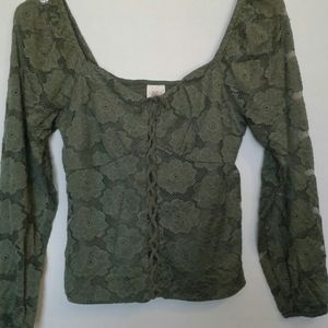 Lace Peasant Style Top sz XS or M  Olive Green NWT